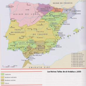 Los Reinos de Taifas hacia 1035