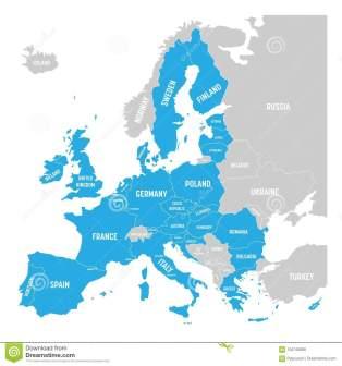 el-mapa-político-de-europa-con-azul-destacó-unión-europea-ue-estados-miembros-ejemplo-plano-simple-del-vector-104745090